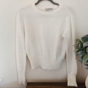 Zara White Soft Fuzzy Sweater 2018